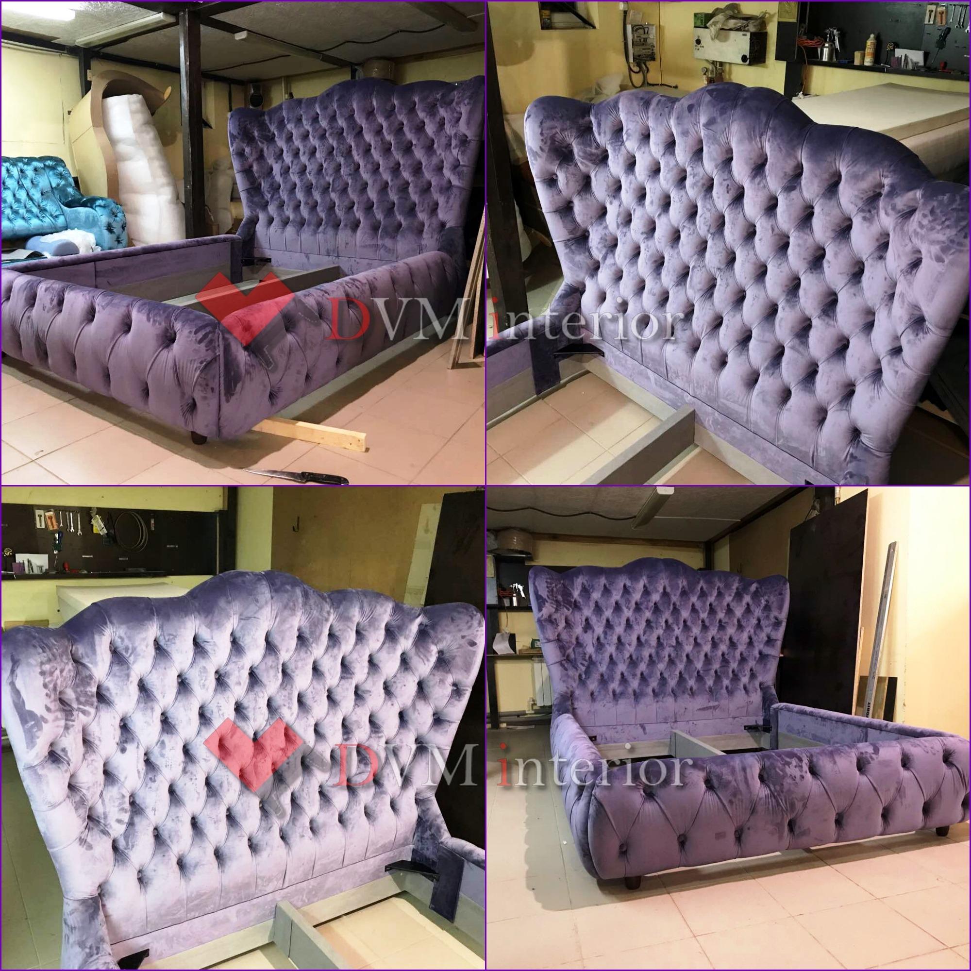 Krovat fioletovaya myagkaya - Кровать фиолетовая мягкая