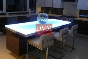Cool white LED light for the glass countertop is ideal for the contemporary kitchen 300x200 - led подсветка мебели